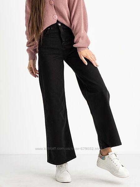 Модные расклешенные черные джинсы палаццо, джинсы женские клеш от бедра