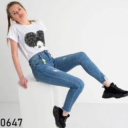Американка голубая рванка, джинсы женские скинни с высокой посадкой