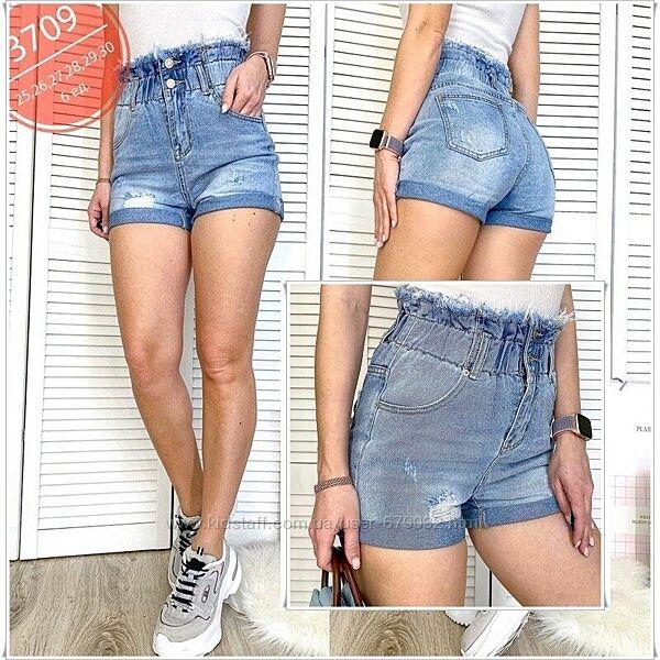 Джинсовые женские короткие шорты на резинке р 25,28,29