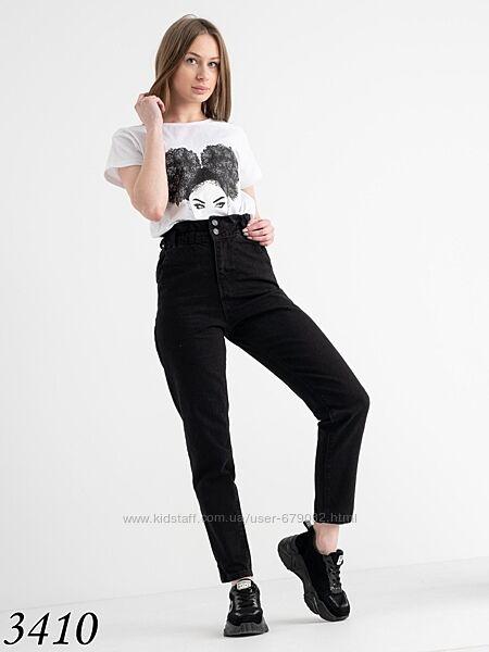 Стильные черные джинсы МОМ с резинкой в поясе, женские МОМы