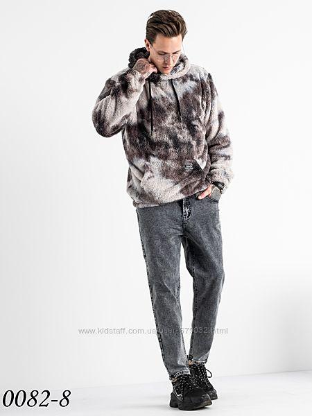 Стильный мужской МОМ, джинсы мужские серые приуженные