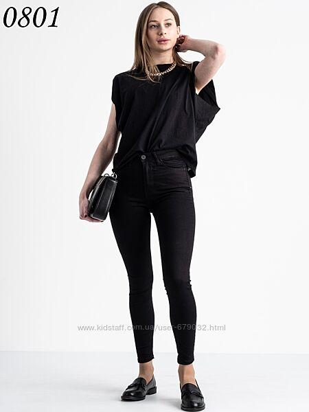 Черная женская американка, джинсы скини черные зауженные с высокой посадкой
