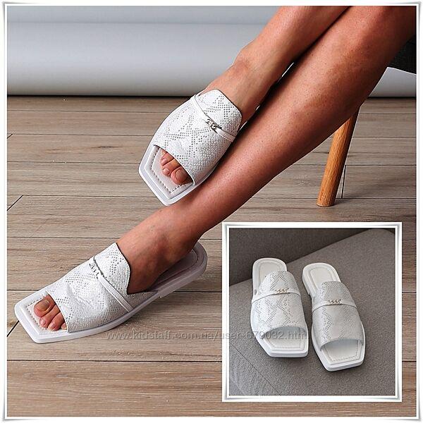 Серебристые кожаные женские шлепанцы с квадратным носком, шлепки кожа