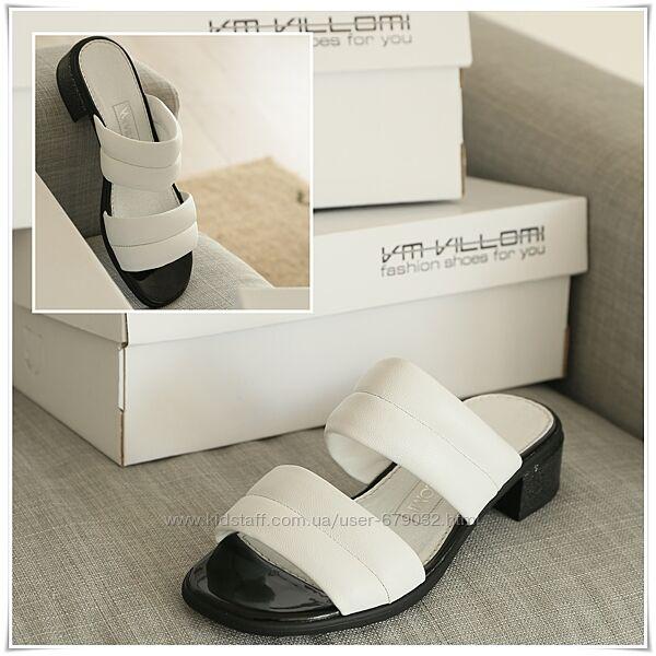Белые кожаные женские шлепанцы на маленьком каблуке, шлепки кожа