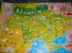 Карта Украины настенная детская формат А2 плотная мелованная бумага