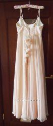 Платье М вечернее свадебное в пол кремовое