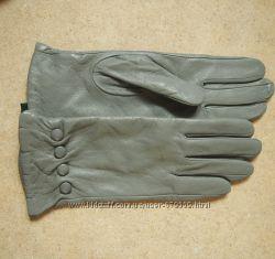 перчатки кожа Китай  серые 7