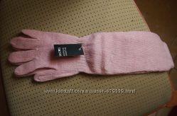 длинные шерстяные перчатки M розовые и белые