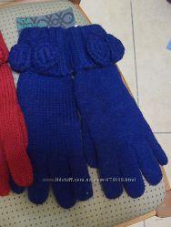Перчатки синие  Benetton акрил шерсть L