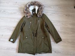 парка куртка  reserved евро 44 l-xl внутри флисовый мех