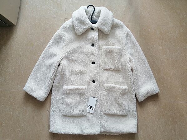 Шуба пальто Zara l под овчину
