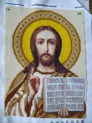 Продам икона Господь Вседержитель золото вышита бисером