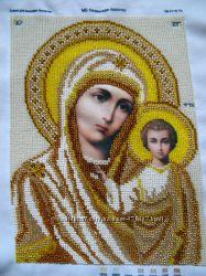 Продам икона МБ Казанская золото вышита бисером