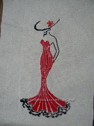 Продам картина Дама в красном, вышита нитью