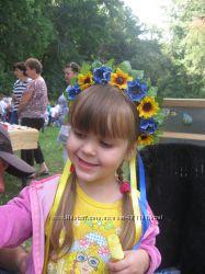 Веночки  украинские на обруче. Эконом-вариант для детских утренников.