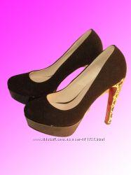 618634684 Женские туфли из искусственной замши черного цвета, 580 грн ...