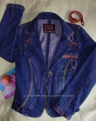 Джинсовый пиджак Rexton с вышивкой и замшевой отделкой р. L