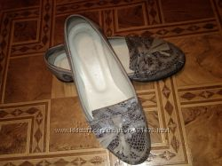 Туфли на низком лоферы 24 см кожаные