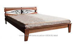 Кровать Скарлетт 1, 6м, Рспродажа, цвет орех светлый, дерево ольха, Украина