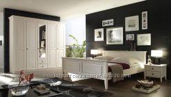 Спальня Боцен кровать, комод, тумба, шкаф, зеркало, цвет белый, Скидки