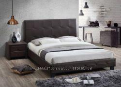 Кровать Хьюстон, тумбы, цвет кожзама шоколад, Малайзия, тм Домини, Скидки