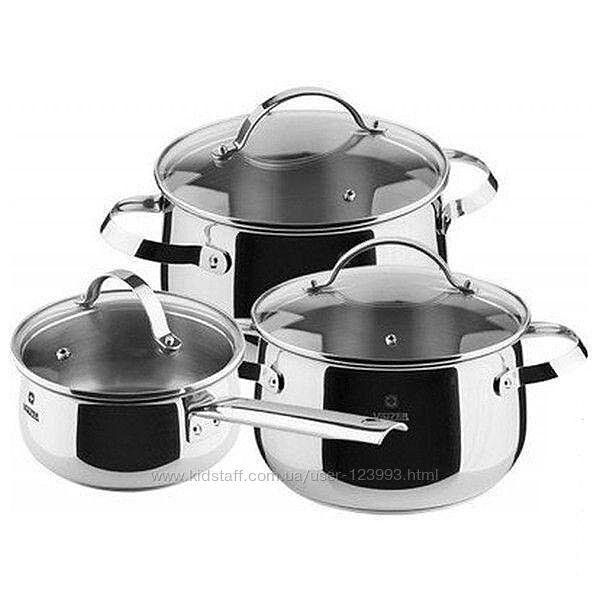 Набор посуды из экологически чистого материала - пищевой нержавеющей стали Vinzer винзер CULINAIRE 6 предметов