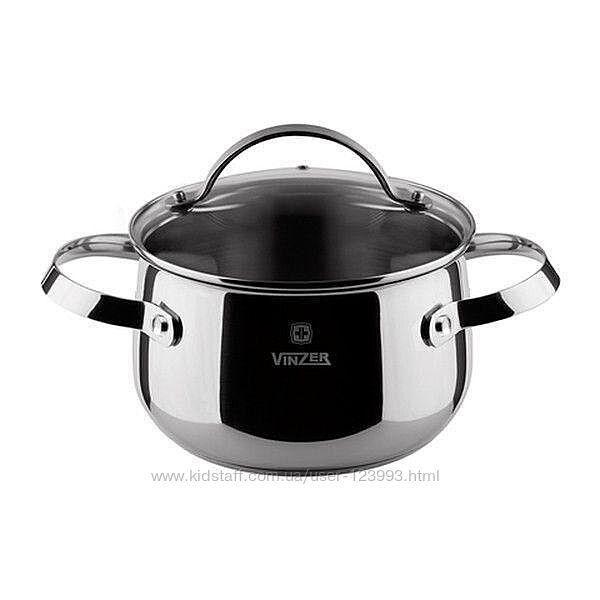 Кастрюля из нержавеющей стали с крышкой для индукционной плиты Vinzer Culinaire series 7 л 89168