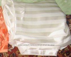 Ткань шёлк ацетатный белый с атласными полосами