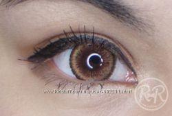 Карие цветные контактные линзы для карих и светлых глаз. Корея, на год