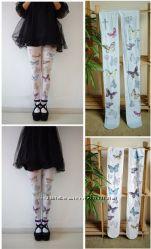 Колготки Harajuku с ангелочками, бабочками и крестами. Плотные