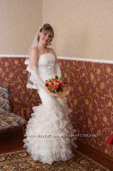 Продам свадебное платье, фату и перчатки