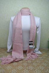 Шарф теплый вязанный розовый