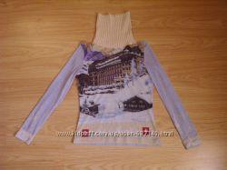 гольф-сетка с оригинальным принтом теплого свитера