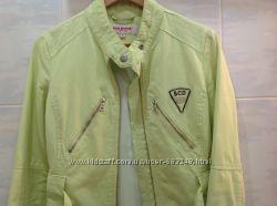 Весенняя куртка-жакет салатовая, толстый плотный, качественный коттон