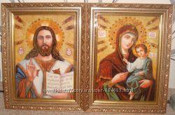 Иконы из натурального янтаря.  Иверская венчальная пара
