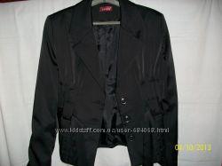 Атласний чорний піджак з поясом-новий  штани