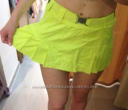 Юбка Adidas Stella MacCARTNEY плащевка Салатовая Белая Голубая