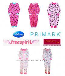 Пижамы сдельные слипы, человечки для девочек, Англия на 1-6 лет