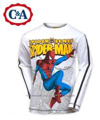 Регланы Spider-man Человек-Паук на 7-8 л белый, хлопок, бренд C&A Германия