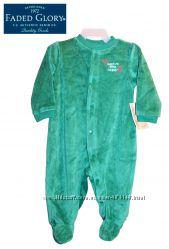Слип человечек велюровый 0-6 месяцев нарядный зеленый, Faded Glory США