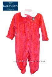 Слип человечек велюровый 0-6 месяцев нарядный красный, Faded Glory США