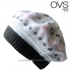 Берет демисезонный на 2-3 года OVS Италия серый с розовым