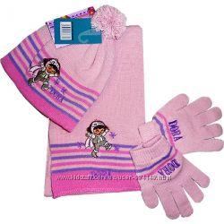 Демисезонная шапка, шарф и перчатки для девочки Даша следопыт TVMANIA