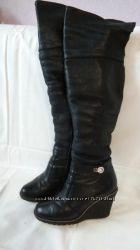 Зимние сапоги ботфорты кожаные