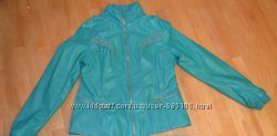 Тренд качественная бирюзовая куртка кожзам XL на 48-50