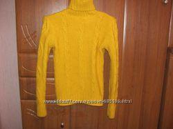 Шерстяный ажурный горчичный свитер на 46-48  ТУРЦИЯ пролет