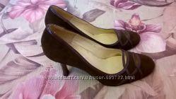 туфли коричневые с лаковыми вставками