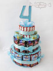 Тортик из конфет, барни и шоколадок в садик