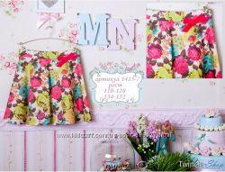 Красивая нарядная юбка с цветочным принтом MONE