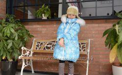 Голубая снежинка от Baby Angel, с мехом 110-134